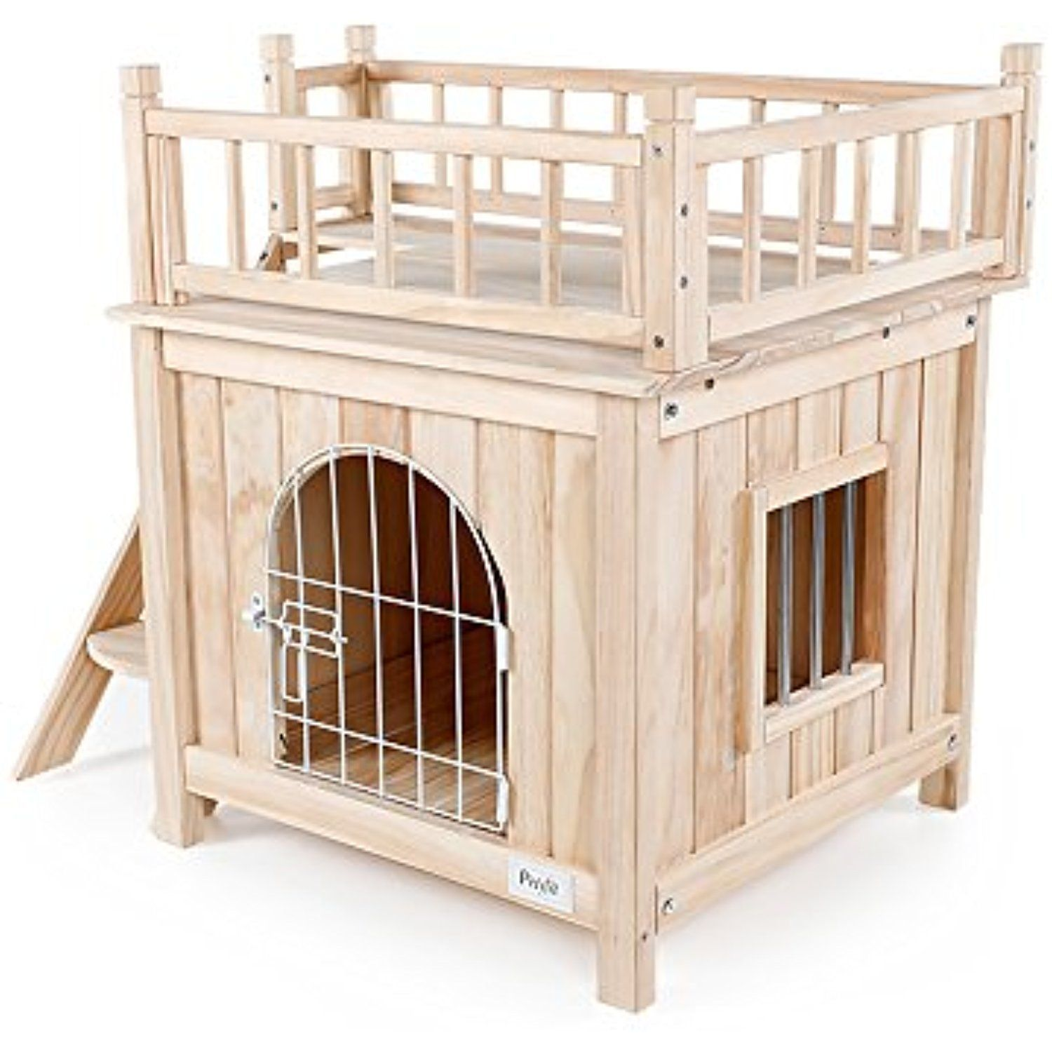 Petsfit Indoor Wooden Cat Pet Dog House With Stairs And Wire Door 28 Lx21 Wx25 H For More Information Visit Image Li Cat Houses Indoor Wooden Cat Pets Cats