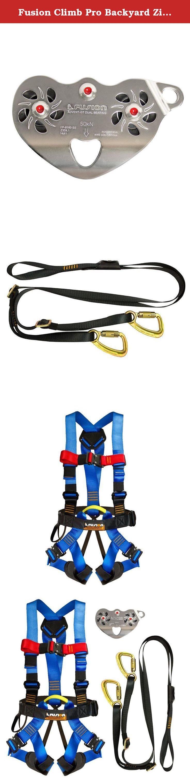 fusion climb pro backyard zip line kit fk a hlt 20 harness lanyard