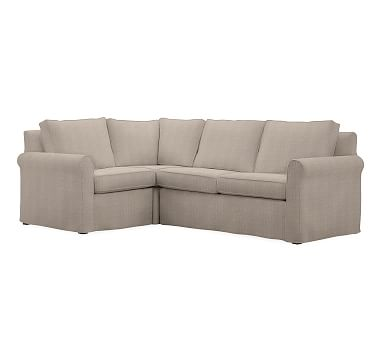 Cameron Roll Arm Slipcovered Right Arm 3-Piece Corner Sectional, Polyester Wrapped Cushions, Sunbrella(R) Performance Sahara Weave Mushroom