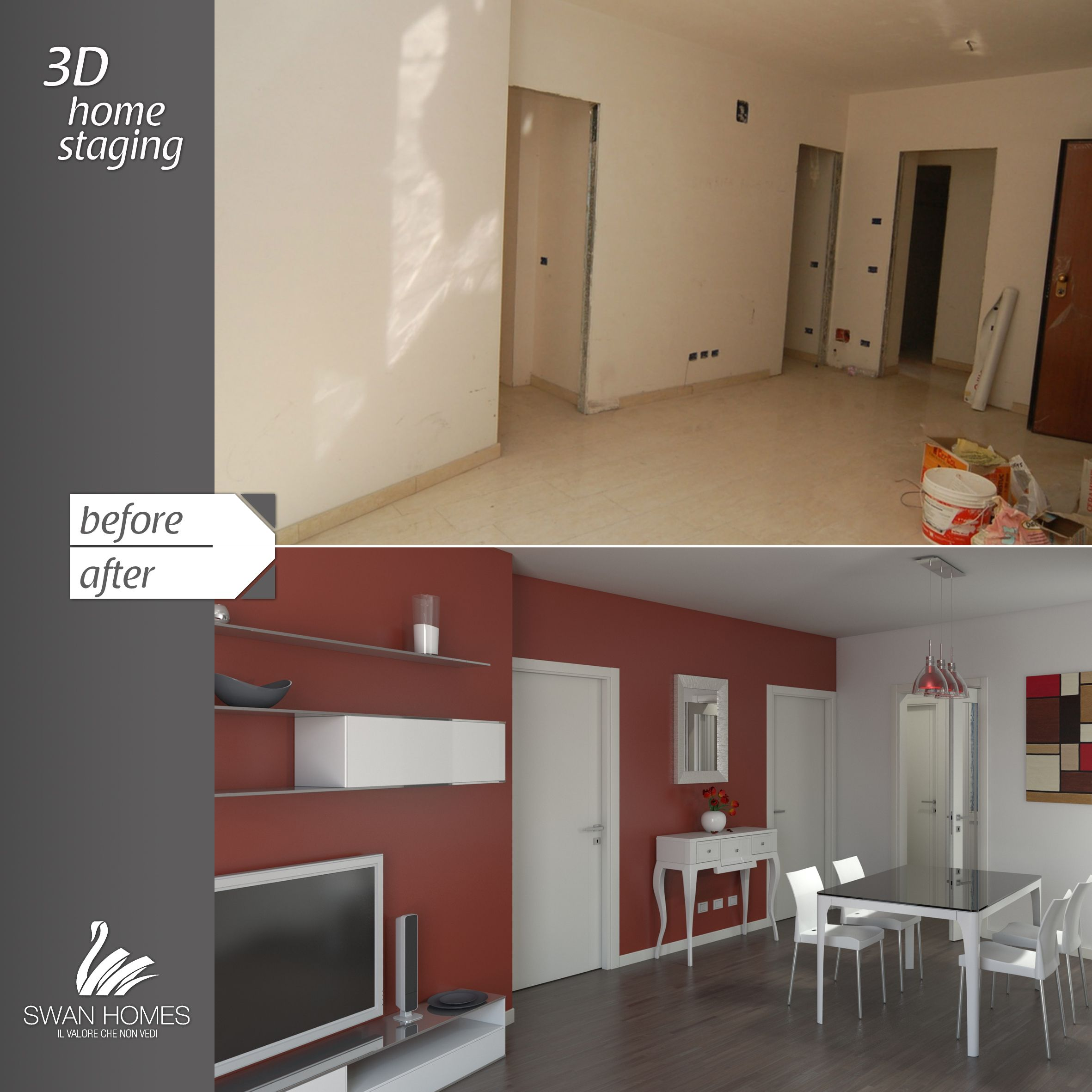 before&after   3D home staging   red & white