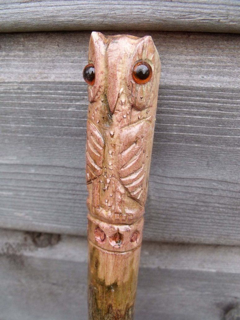 Carved owl walking stick by hoddy sticks on deviantart