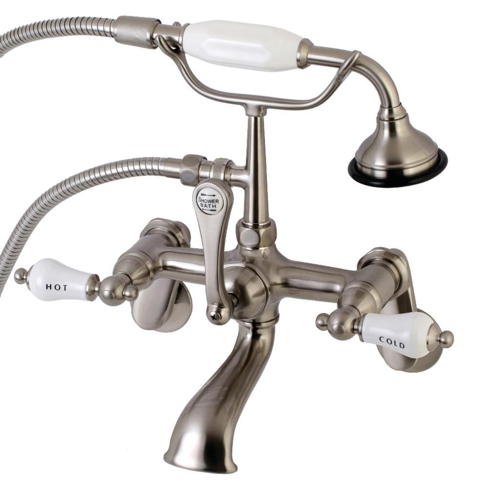 Kingston Brass Traditional Adjustable Center 3 Handle Claw Foot Tub Faucet With Handshower In Brushed Nickel Hae53t8 Tub Faucet Kingston Brass Clawfoot Tub