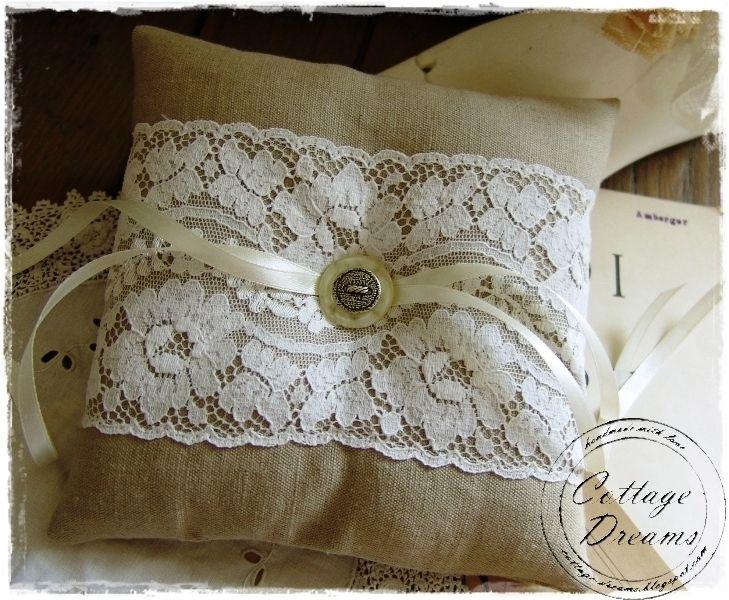 Vintage Ringkissen aus Leinen  Hochzeit  Ringkissen
