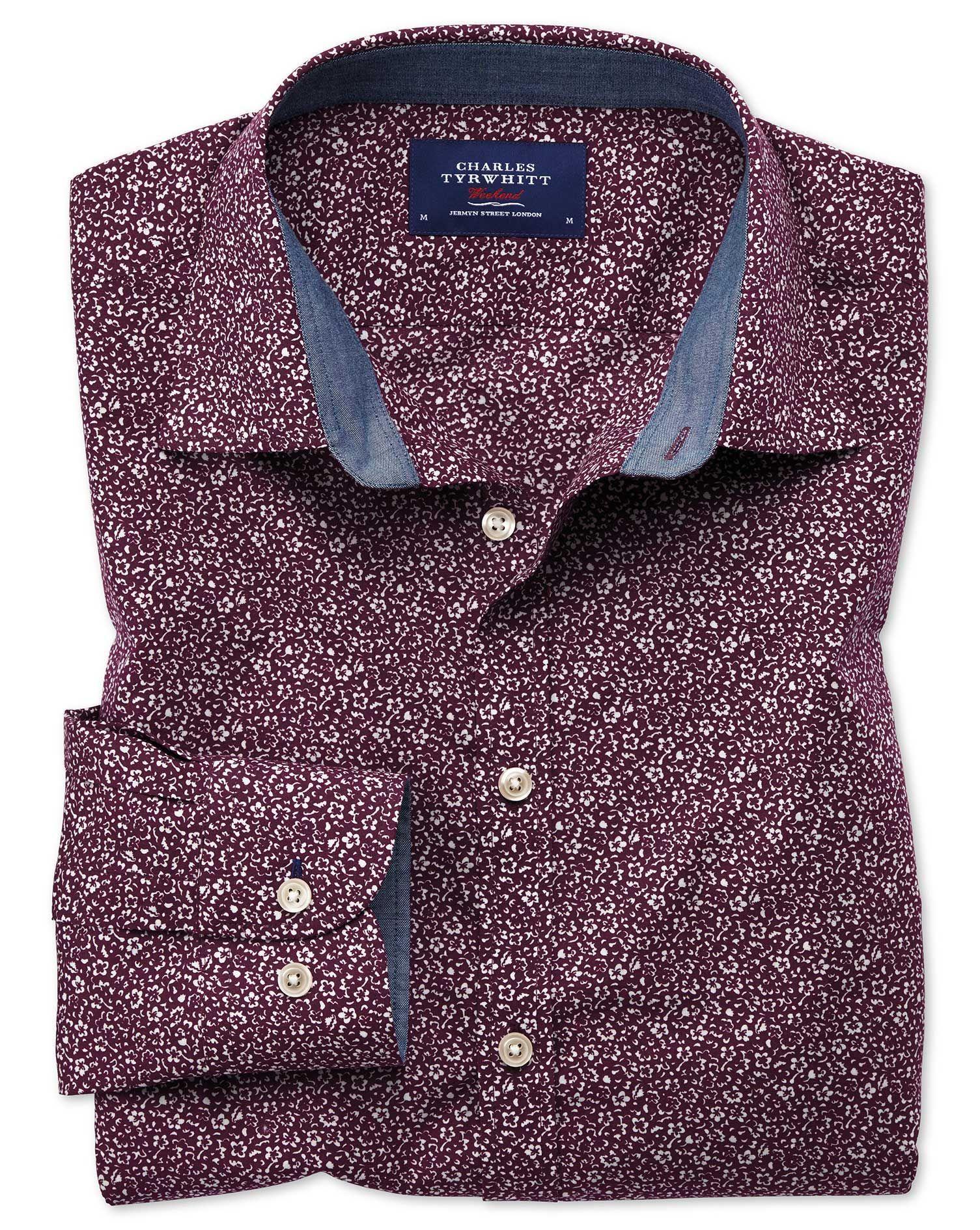 e9a543dadb03 Extra slim fit purple floral print shirt
