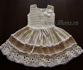 Baby Dress Crochet Pattern / New Model. Skill levels - Intermediate. An Original Designed Crochet Pattern by Illiana http://www.illiana.eu Fits ages :