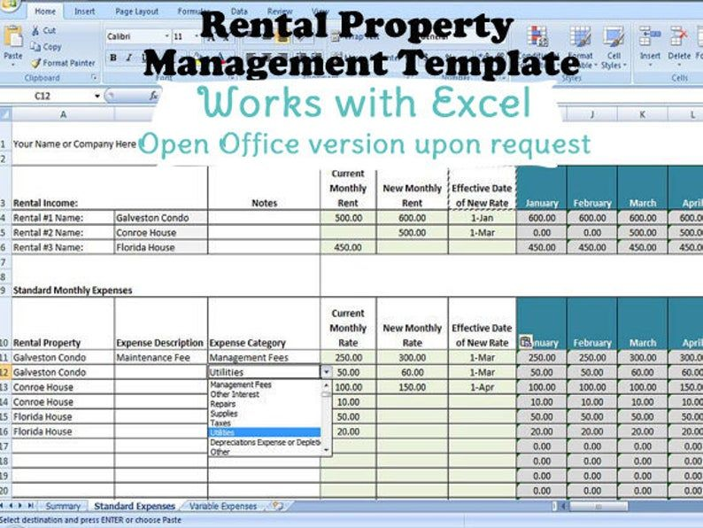 Rental Property Management Template Long Term Rentals Rental Income And Expense Categories Rental Property Management Property Management Rental Property