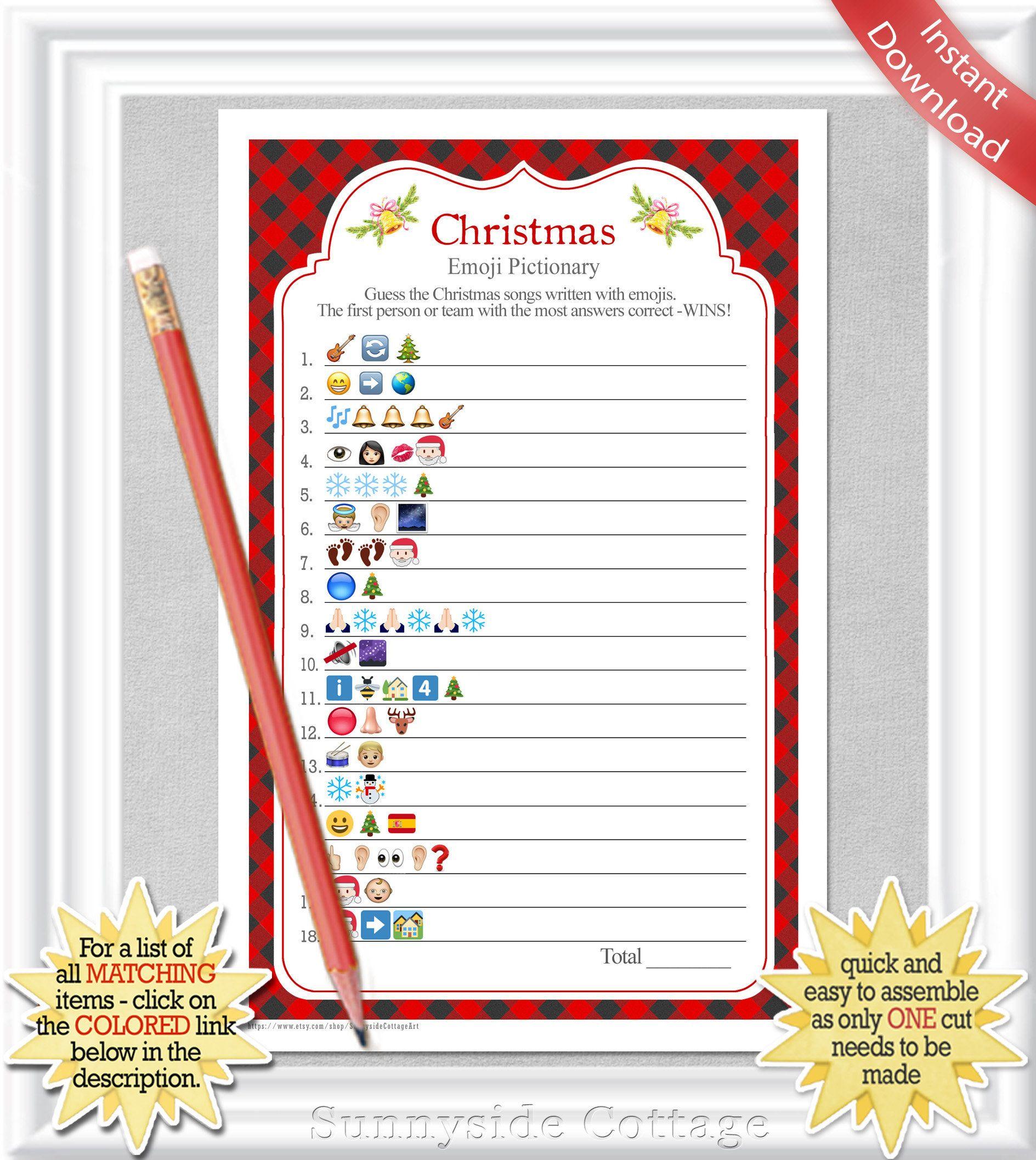 Christmas Songs Emoji Pictionary With A Red Buffalo Check Background Christmas Party Game Answers Included Instant Download Diy Printable Emoji Christmas Christmas Party Games Christmas Games