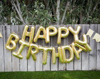 Happy Birthday Balloon Banner Goldbirthday Partyletter Balloonsparty Decorparty Balloonsbirthday Garlandballoonsgold Letter Balloons