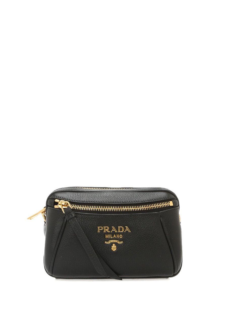 002df5bbce1c7 Prada - Prada Siyah Gold Logolu Kadın Deri Bel Çantası | Brand-Store ...