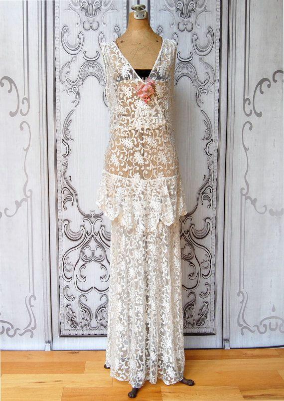 Vintage 1930\'s Wedding Gown Bias Cut 30\'s Vintage by MinkyVintage ...