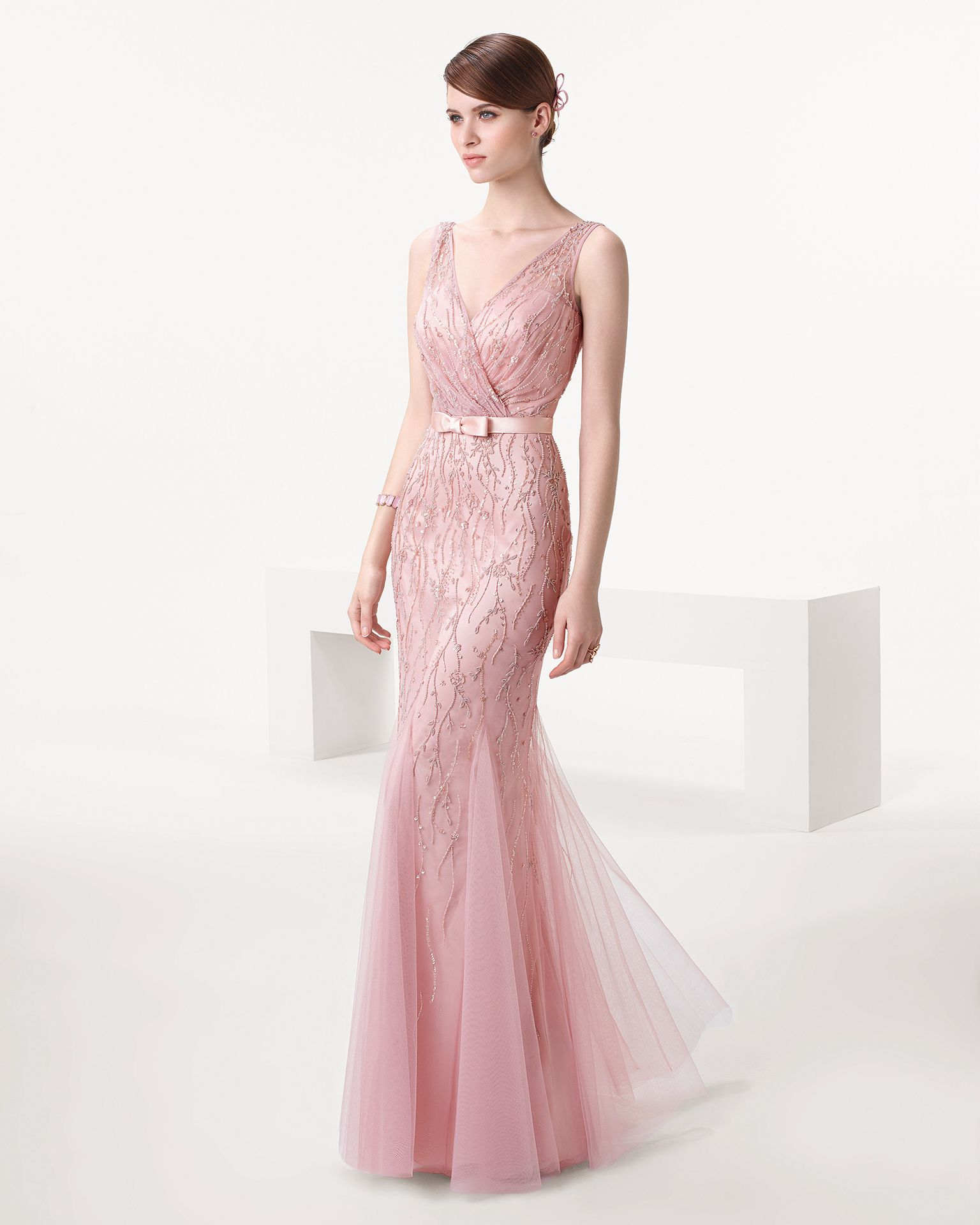 Blush Beaded Wedding Gown With Belt Rose Quartz Hued