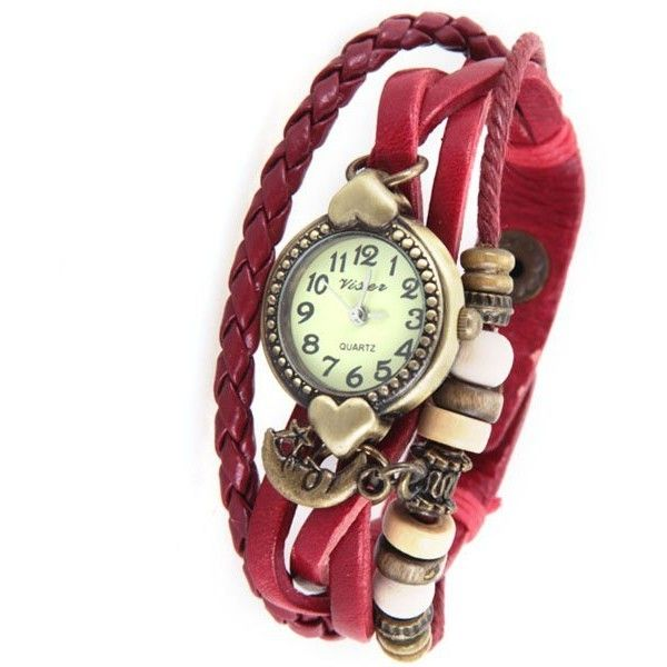 Retro Women Bracelet Watch with Heart Design and 12 Arabic Numbers... ❤ liked on Polyvore featuring jewelry and watches