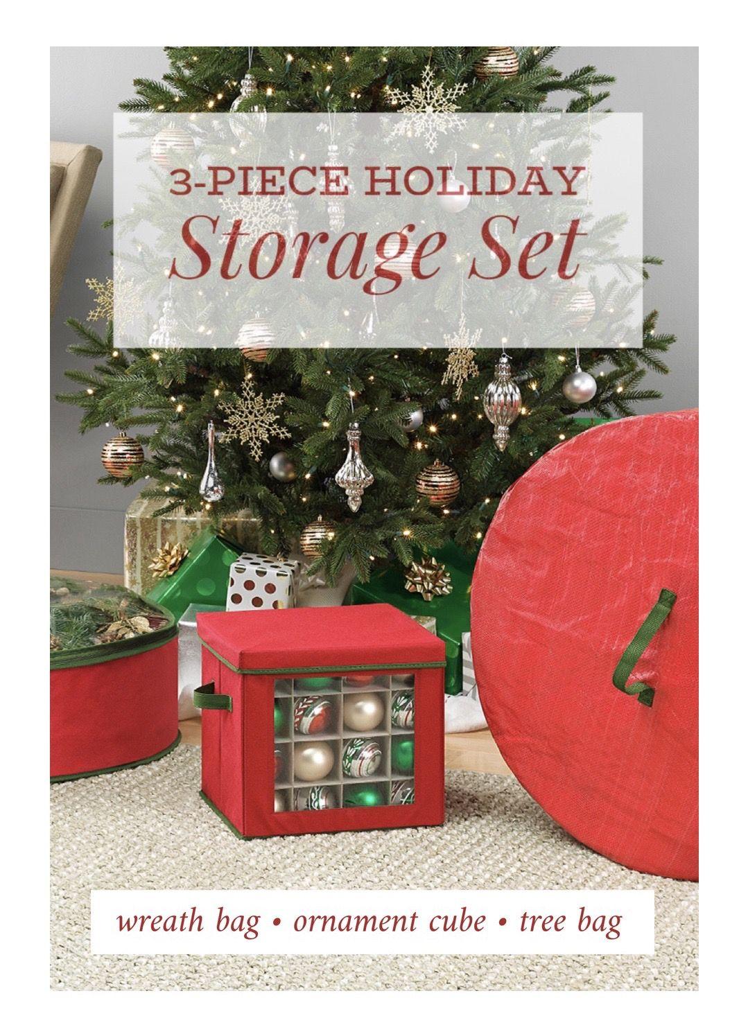 3 Piece Holiday Storage Kit Includes Tree Bag Wreath Bag Ornament Box Ornament Storage Box Holiday Storage Ornament Storage