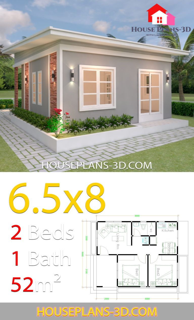 House Design Plans 6 5x8 With 2 Bedrooms Shed Roof House Plans 3d House Plans Small House Layout Simple House Design
