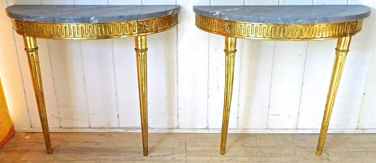 Fabulous Pair of 1930's Italian Greek Key Giltwood and Marble Console Tables   From a unique collection of antique and modern console tables at https://www.1stdibs.com/furniture/tables/console-tables/