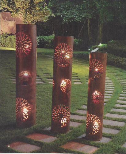 I do have it in my mind that we will use two sets of these lanterns to flank the ceremony area. The lanterns should be raised on blocks of limestone. The ceremony area( grass) - hopefully will look a little like this with the design where you will be standing.