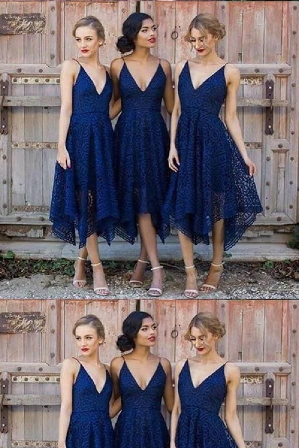 Navy Blue Bridesmaid Dresses V Neck Bridesmaid Dresses Bridesmaid Dresses With Images Short Lace Bridesmaid Dresses Short Bridesmaid Dresses Navy Blue Bridesmaid Dresses