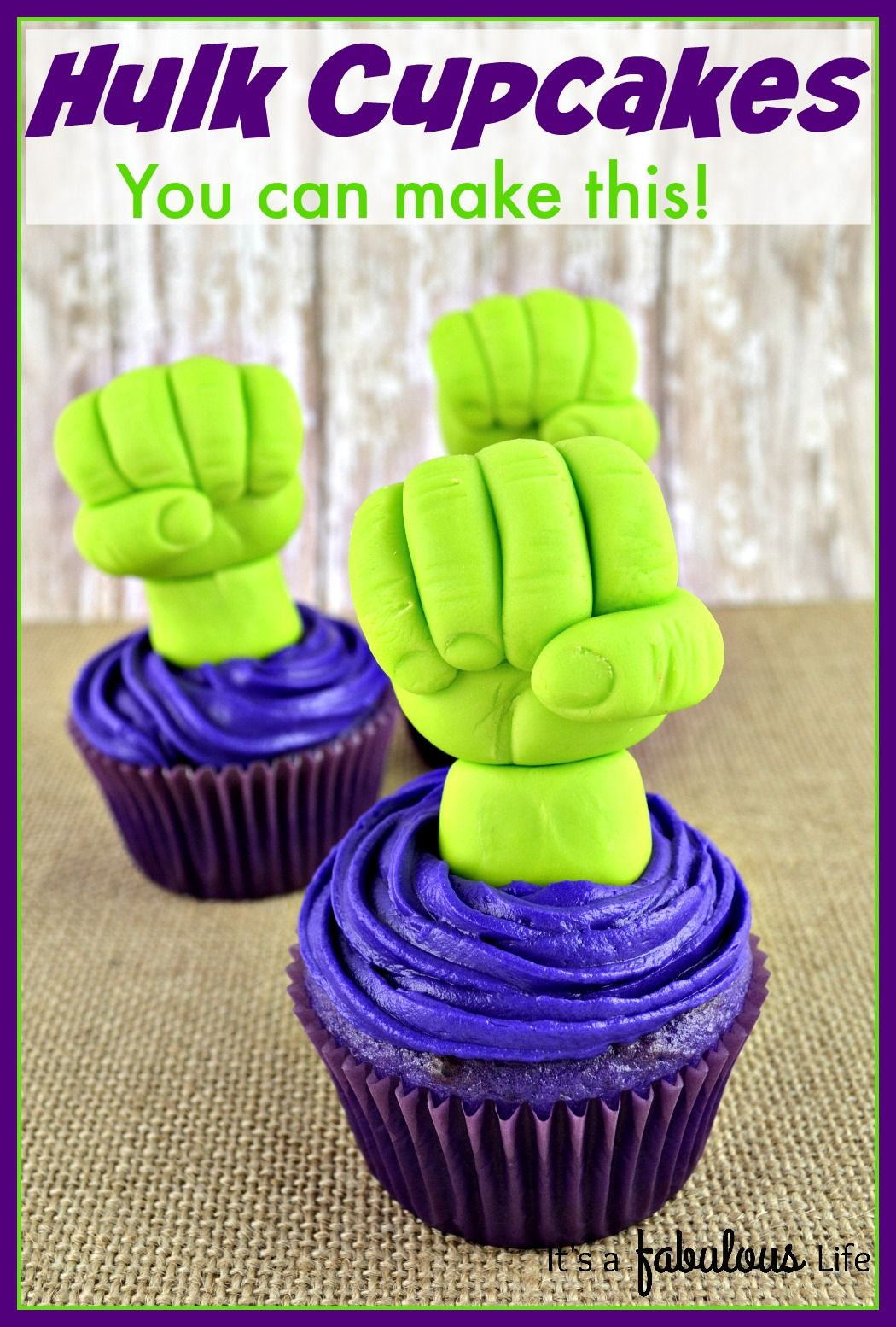 Marvel Avengers Birthday Idea: Hulk Cupcakes - She does a really good job showing step by step so it's easy enough even for beginners! It's A Fabulous Life