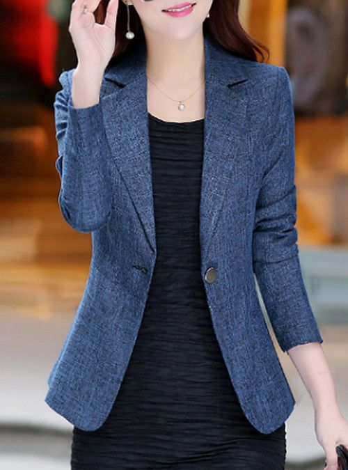 Women S Daily Work Basic Street Chic Spring Fall Plus Size Regular Blazer Solid Colored No Blazer Outfits Blazer Jackets For Women Blazer Outfits Casual
