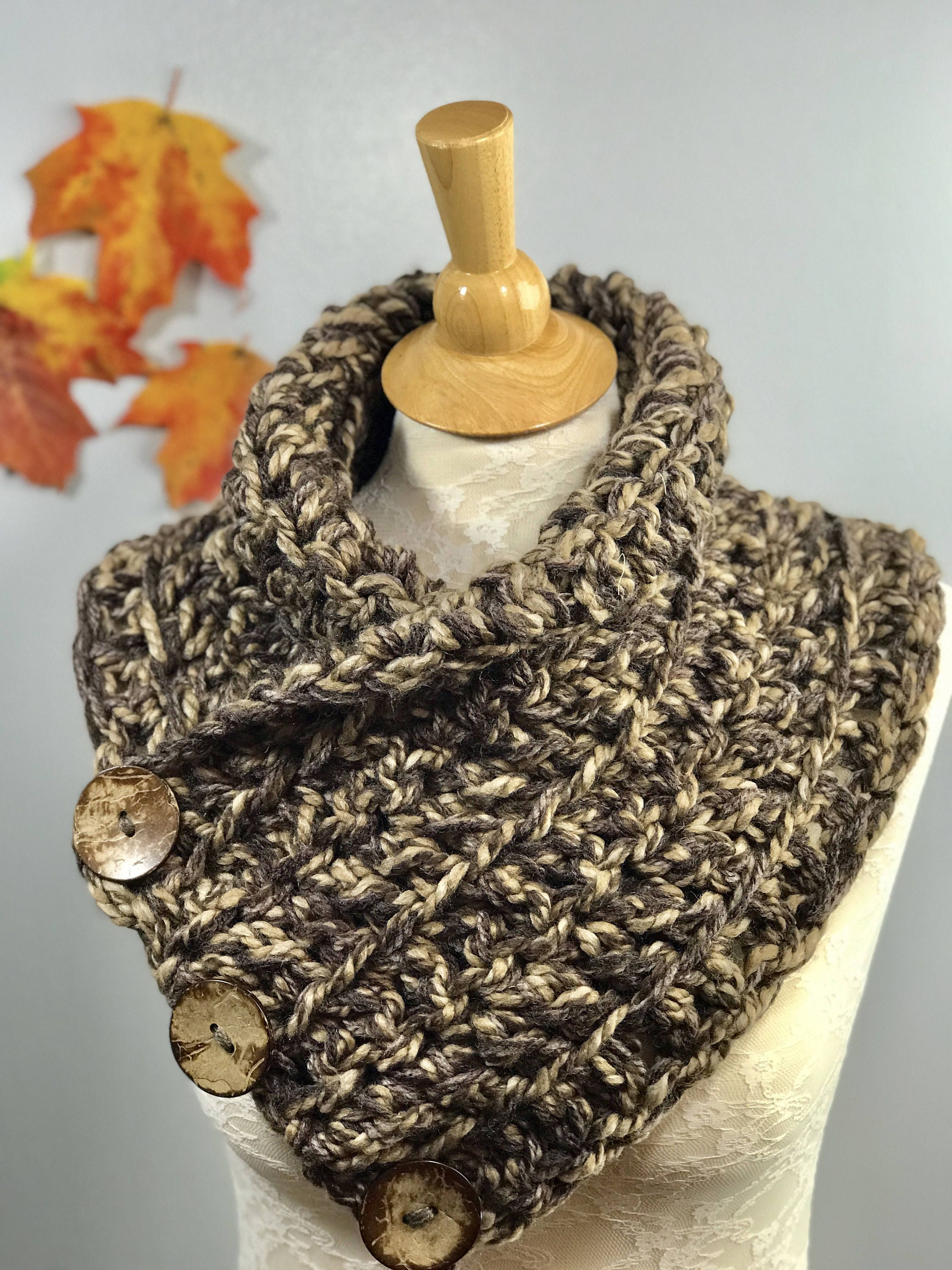 Hand Crochet Boston Harbor Scarf in Pecan Color Shoulder Wrap with 3 ...