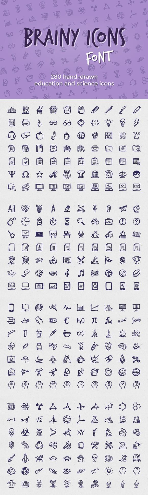 Brainy Icons Font Symbol Fonts 2500 Symbol Fonts Pinterest