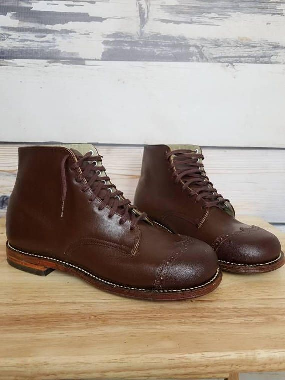 c6a60bf93fa85 Markell Tarso Medius Straight Boot Shoe Brown Leather Wing Tip ...