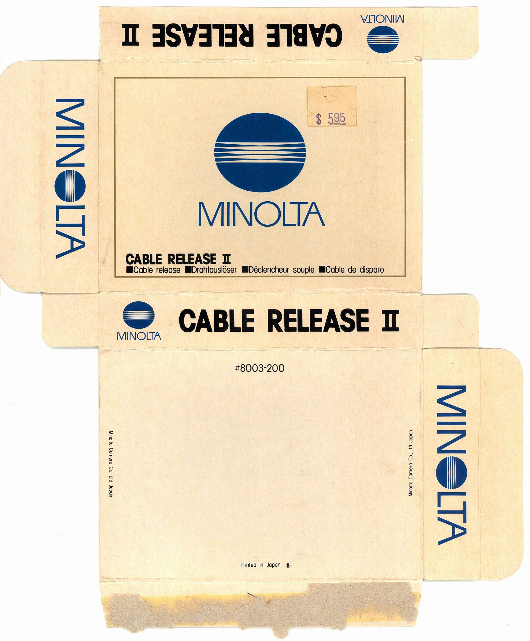 https://flic.kr/p/rxqD7K | minolta cable release II box | After sixty-nine years, Pardee camera is closing. I am really sad to see the end of the last real camera store in Sacramento. I got this cable release as an extra. I already have one like it, but it never hurts to have two, and it was marked down for clearance.