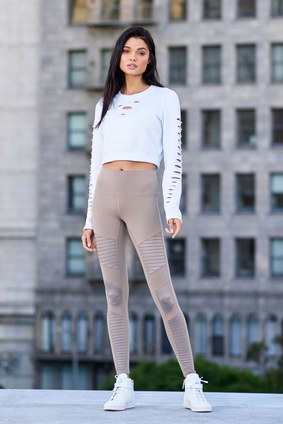905a8e82fcd15c ALO YOGA || High-Waist Moto Legging and Ripped Warrior Long Sleeve #aloyoga  #beagoddess
