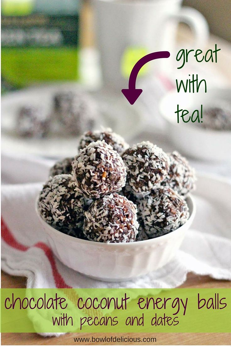 These Whole30 / Paleo energy balls are an AMAZING midday snack, and perfect to pair with afternoon tea! Sweetened only with dates, they taste decadent but are super healthy for you, and easy to make. #ad #MeAndMyTea @BigelowTea