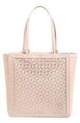 Tory Burch 'Fret T' Perforated Leather Tote