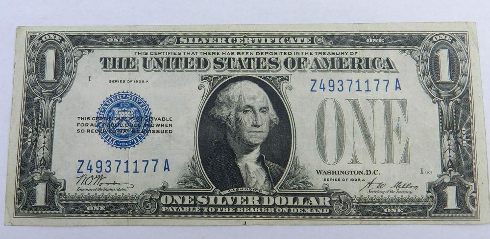 1 1928 A Silver Certificate Z A Block Fine Funny Back 3999 Free