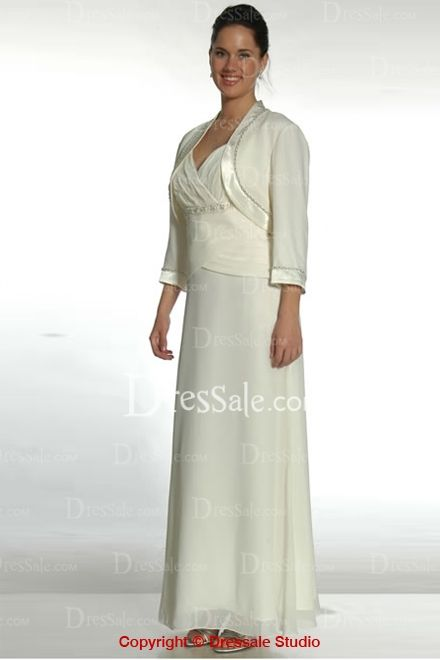 Graceful Column Mother of the Bride Dress with Bolero Jacket