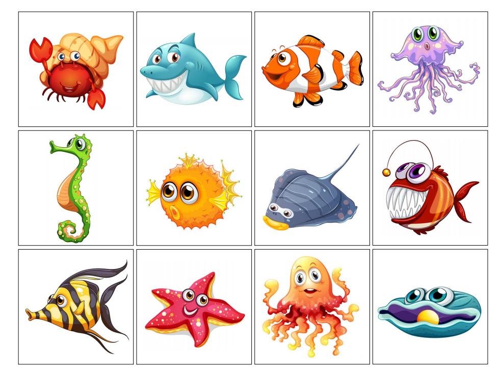 Jeu de m moire sur les fonds marins poissons en maternelle animaux marins animaux de la - Jeux memoire a imprimer ...