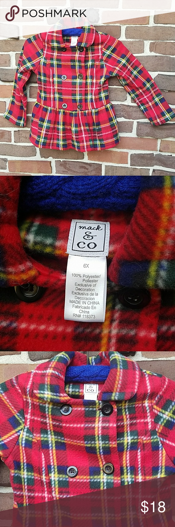 Adorable tartan plaid fleece jacket peacoat tartan plaid tartan