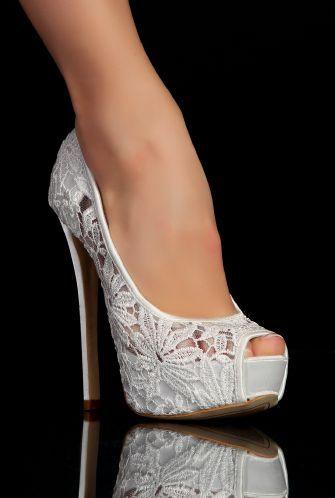 Escarpins compensés blanc DENTELLE Chaussures mariage femme
