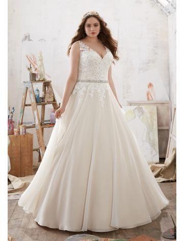 A-linie V-ausschnitt Traumhafte Brautkleider aus Organza mit ...