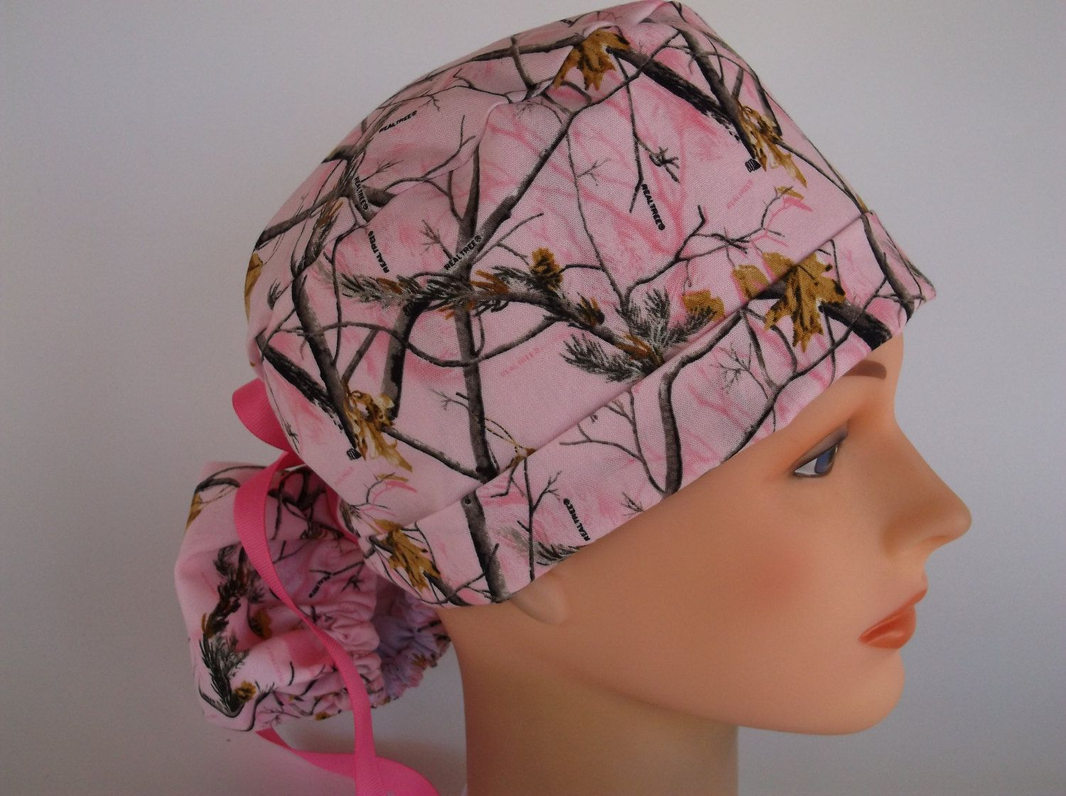 Real Tree Pink Ponytail - Womens lined surgical cap d426e7eec0c7