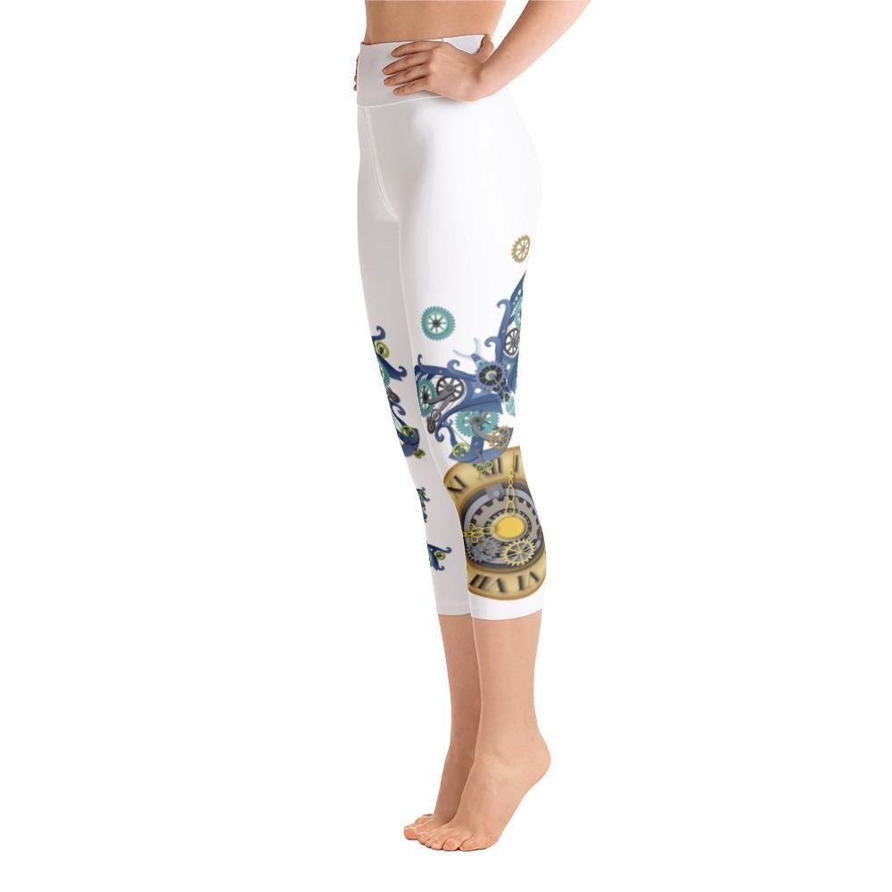 ac91a21fc66b5 Steampunk Butterflies and Gear Clock High-Waisted Workout Capri Leggings  from StarLily Sportswear. #steampunk #steampunkfashion #steampunkart ...