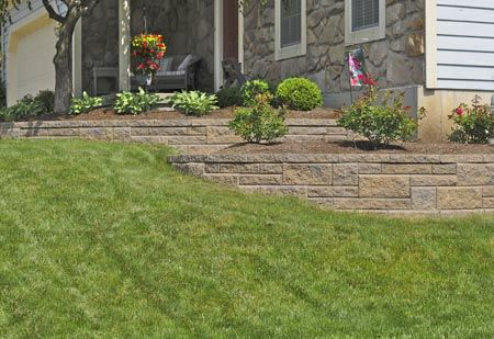 Landscaping For A Sloping Front Yard Terraced Landscape Wall Is Perfect For Any Slop Sloped Backyard Landscaping Landscaping Retaining Walls Home Landscaping
