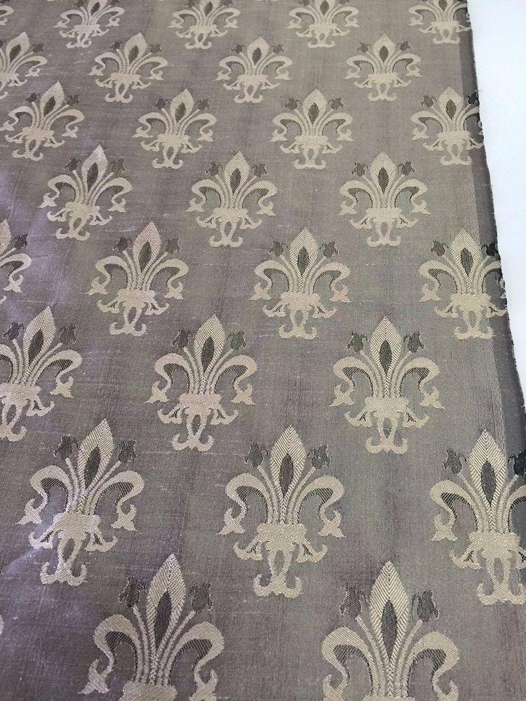 Silk Fleur De Lis Jacquard Fabric By The Yard Pillows