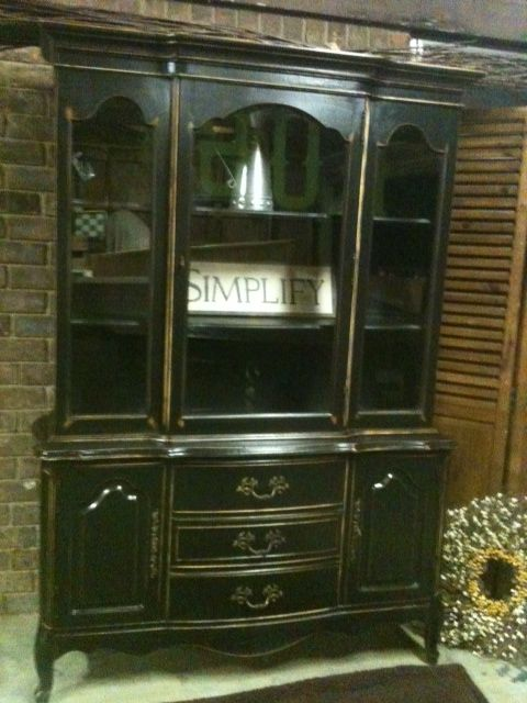 Revamped French China Cabinet In Classic Black And Lightly