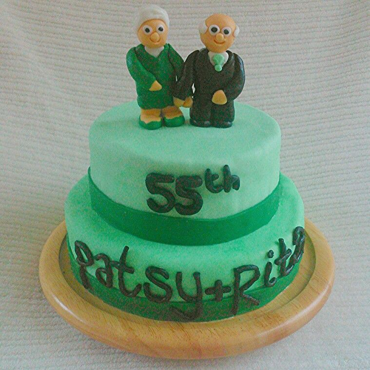 55th wedding anniversary cake, vanilla sponge, raspberry jam with vanilla buttercream and marshmallow fondant figures. Emerald Anniversary