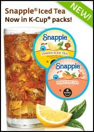 Snapple Iced Tea is now available in K-Cup packs! Enjoy Lemon, Peach, and Raspberry Iced Teas in your Keurig brewer.  Made from the Best Stuff on Earth. Happy brewing!