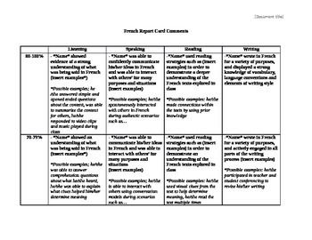 Ontario For As Cards Report Comments Teachers Language Second Curriculum Comments Card A French