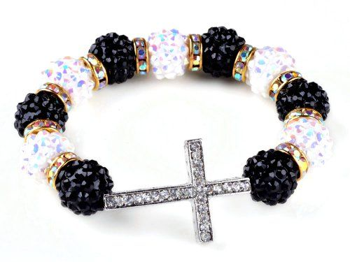 Side Ways Cross Bracelet Basketball Wives Charm Resin Beads Jewelry Finding for only $4.99