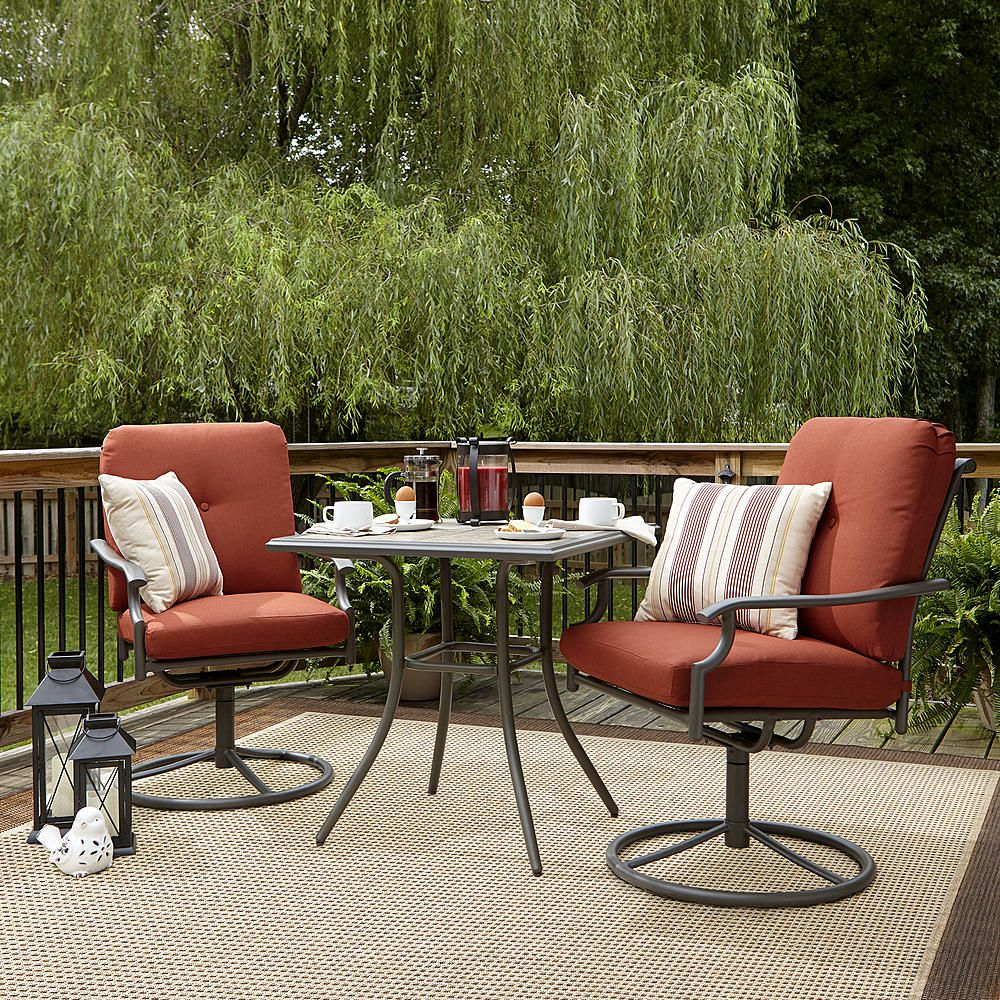 white chairs sets outdoor furniture for small spaces | Garden Oasis Brookston 3 Piece Bistro Set- Terracotta ...