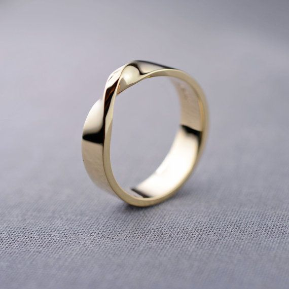 14K Gold Mobius Ring Mens 14K Gold Wedding by LilyEmmeJewelry Put