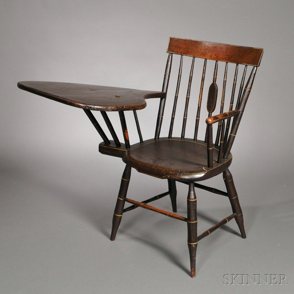 Bamboo Turned Chair: Paint-decorated Bamboo-turned Writing-arm Windsor Chair