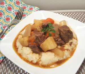 Pressure Cooker Beef Stew with Root Vegetables gets its