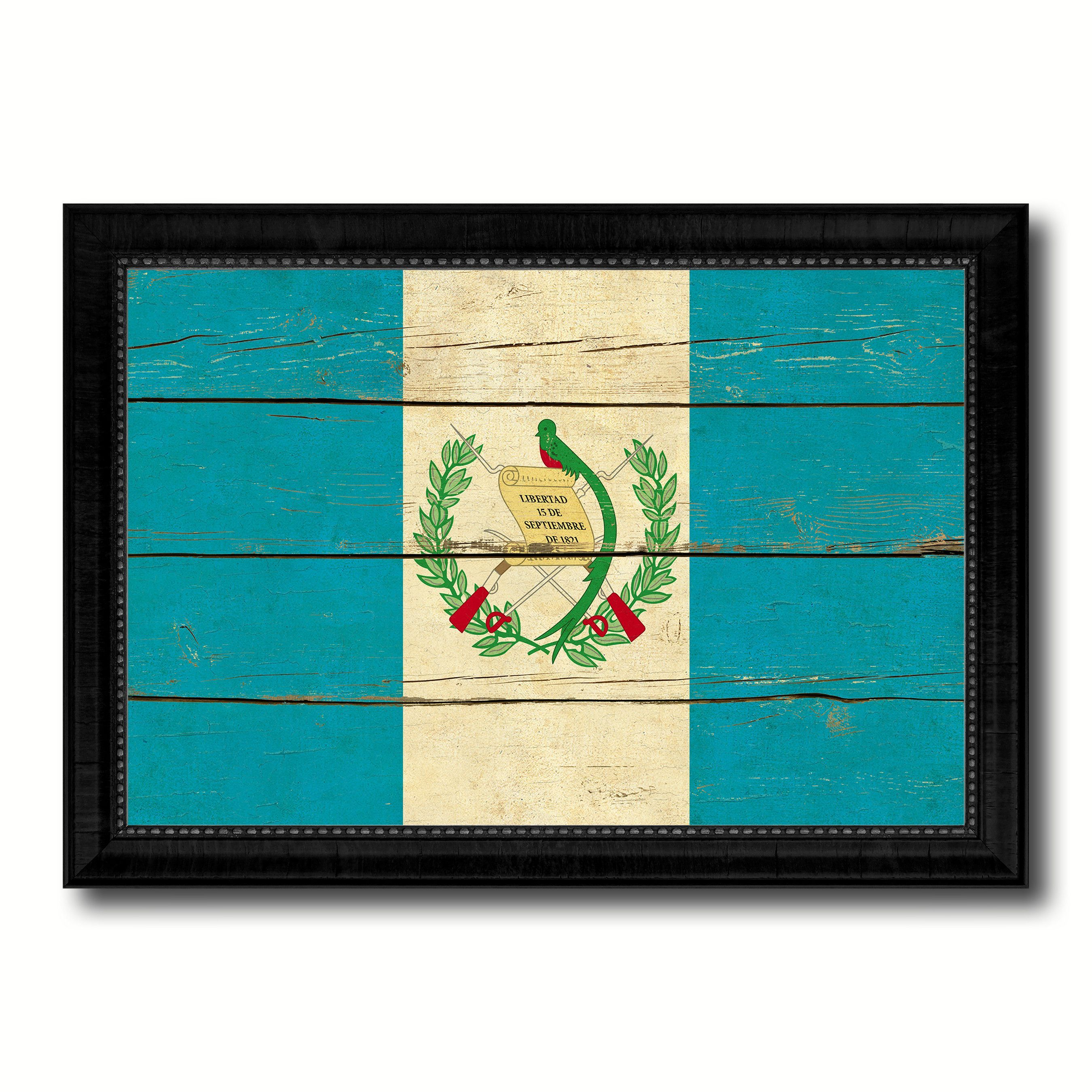 Guatemala Country Flag Vintage Canvas Print with Black Picture Frame ...